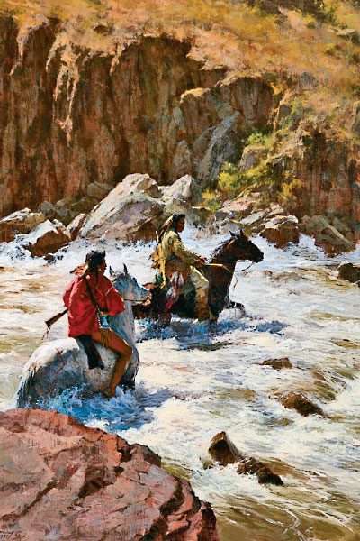 "Howard Terpning's 1996 oil Bad Medicine Crossing portrays two Crows pushing through a dangerous rocky riverbed where they could perish and leave their unrestful spirits, ""bad medicine,"" behind; $550,000."