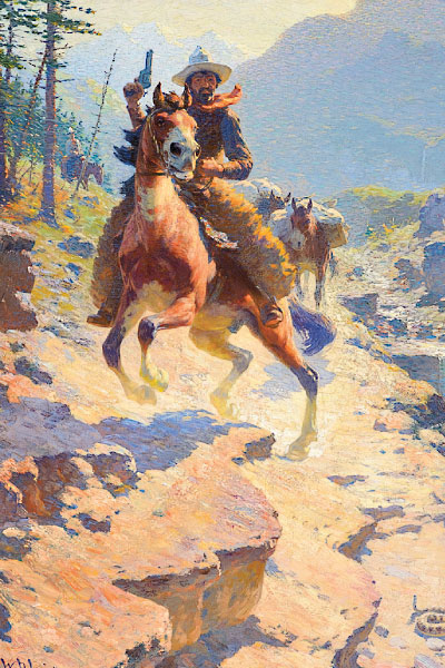 William R. Leigh was among the artists who traveled to the West to view their material firsthand. His Right of Way oil hammered for $600,000.