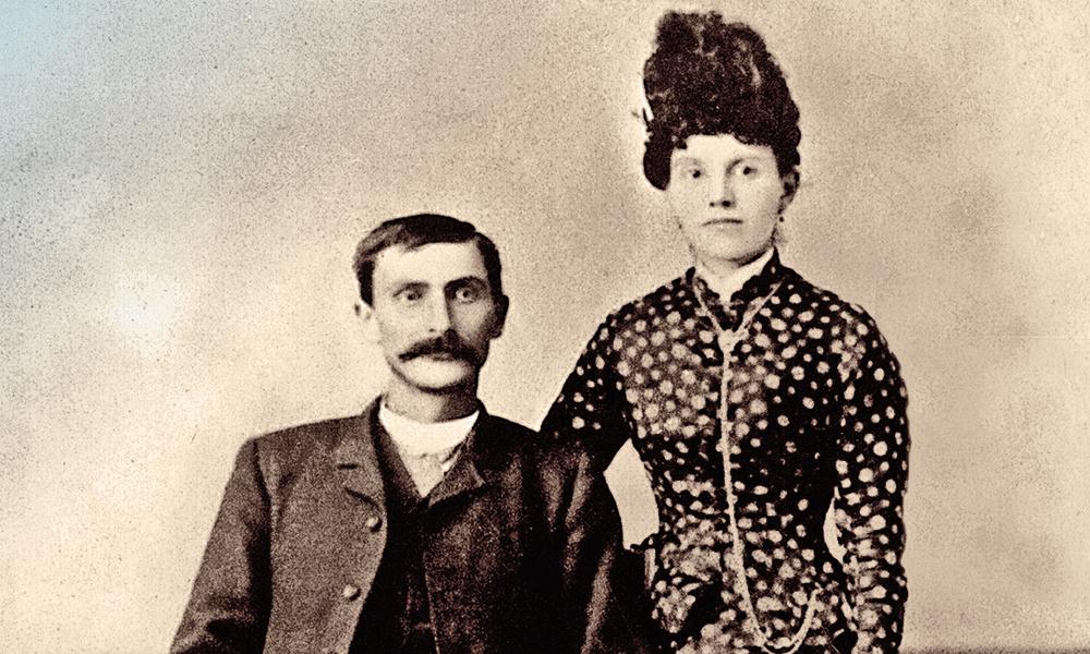 """Pat Garrett's three winters on the buffalo range left him """"well wedded to frontier life,"""" as author Emerson Hough put it. We do not have a family-authenticated photograph of Garrett during that time; the earliest one shows him with second wife Apolinaria (Gutierrez) in Anton, Chico, on their wedding day on January 14, 1880.  – Courtesy Leon C. Metz Collection –"""