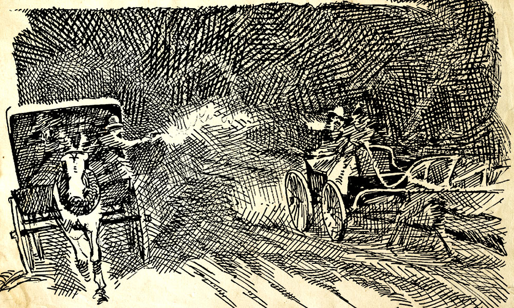 "Denver's first drive-by shooting takes place as Mattie Silks and Corteze Thomson make their way ""home"" after the fight at Olympic Park. A carriage pulls alongside theirs, and a shot is fired. The madam's man is hit in the neck."