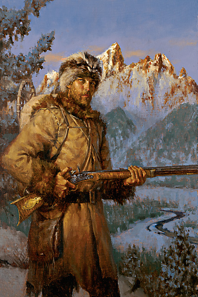 In the winter of 1807-08, on a solo journey of 500 miles, John Colter became the first European to see Jackson Hole and the Teton Mountains in what became Wyoming Territory. Colter stands here, not enthralled by the magnificent mountains, but cocking his flintlock at the hint of danger from man or beast. – Illustrated By Andy Thomas –