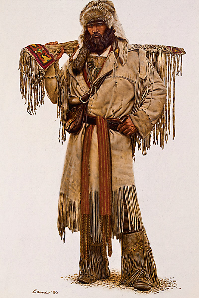 In 1825, a dozen years after Colter's death, William Ashley hosted the first rendezvous for fur trappers, beginning a summer tradition for trappers to trade and sell furs and goods. Ready to Rendezvous by James Bama (b 1926), oil on panel. – Courtesy Tim Peterson Family Collection, Scottsdale's Museum of the West –