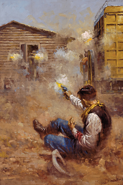 History in Art By Illustrator Andy Thomas I painted the moment when Gale Hill was frantically returning fire at the robbers ensconced in the stable. He had been shot in the arm while he was chocking the wheels to keep the Monitor stagecoach from rolling. Hill would be hit by gunfire again...and put out of the fight.