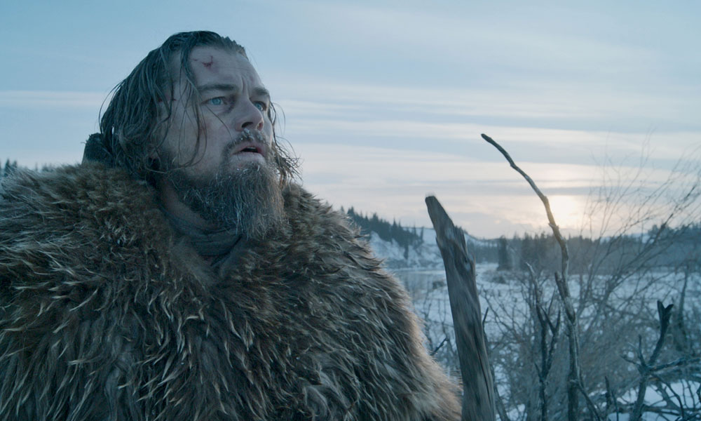 Leonaro DiCaprio as Mountan Man Hugh Glass
