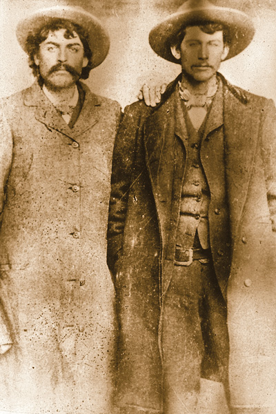Cowboy Pards Fred Waite (left) and Henry Brown fought many a battle alongside William Bonney, a.k.a. Billy the Kid, in the Lincoln County War, the infamous 1878 range war fought in New Mexico Territory. Like many photographs from that era, controversy does not elude this image as some historians suspect Waite's partner in this photo is not Brown, but fellow Regulator John Middleton.– Courtesy Robert G. McCubbin Collection –