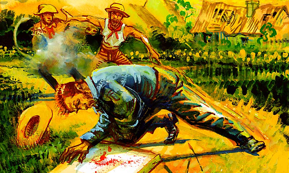 "Blood On the Canvas Vincent van Gogh is shot west of Auvers-sur-Oise, somewhere on the road to Chaponval, by René Secrétan, a Buffalo Bill Cody wannabe who brandishes a pistol that goes off, probably by accident. Many now believe Vincent literally took the bullet for the boys and martyred himself. He says a telling thing to his brother Theo before he dies, ""Do not cry. I did it for the good of everybody."" – All Illustrations by Bob Boze Bell unless otherwise noted –"