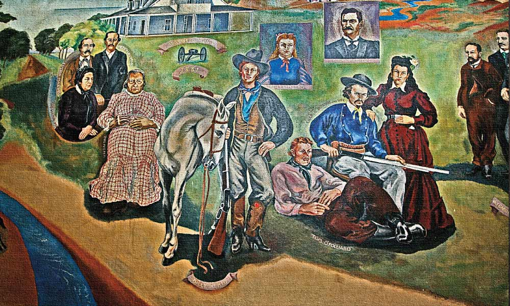 The murals inside the Fort Sumner Courthouse depict the area's history and were painted as a 1930s WPA project by artist Russell Vernon Hunter from Texico, New Mexico. – All images courtesy Johnny D. Boggs unless otherwise noted –