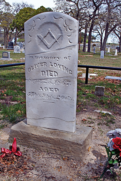 After his death in New Mexico, Oliver Loving was reinterred—with Masonic honors—on March 4, 1868 at Greenwood Cemetery in Weatherford, Texas.