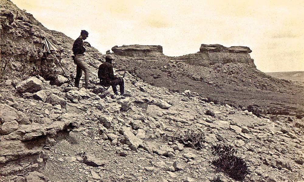 One of the first surveys sponsored by legislators on Capitol Hill was led by Dr. Ferdinand Vandeveer Hayden. These members of the Hayden Expedition work on a rocky slope, in what is probably Wyoming, sometime between 1870-1880.