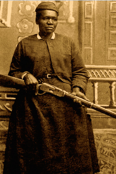 Mary Fields armed herself well; here, she holds an 1876 Winchester carbine, a giant of a rifle that was chambered for more powerful blackpowder loads than the '73 model. – True West Archives –