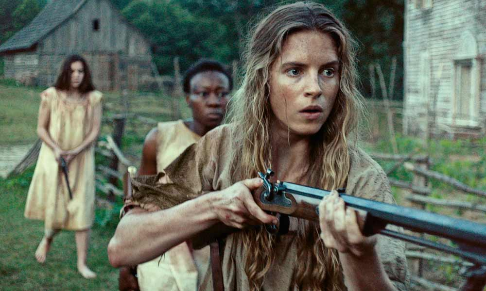 Hailee Steinfeld (inset) graduates from 2010's True Grit into one of three female heroines in a Civil War-era Western. Augusta (played by Brit Marling) courageously leads Mad (Muna Otaru) and Louise (Steinfeld) as they make their stand in 2015's The Keeping Room. – Courtesy Drafthouse Films –