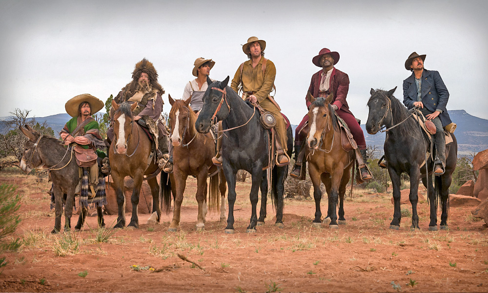 Netflix reserved its largest-budgeted film for a Western produced by comedy icon Adam Sandler. The Ridiculous 6 lampoons another Western, coming out as a Sony-MGM remake in 2016, John Sturges's classic The Magnificent Seven.  – Courtesy Netflix –