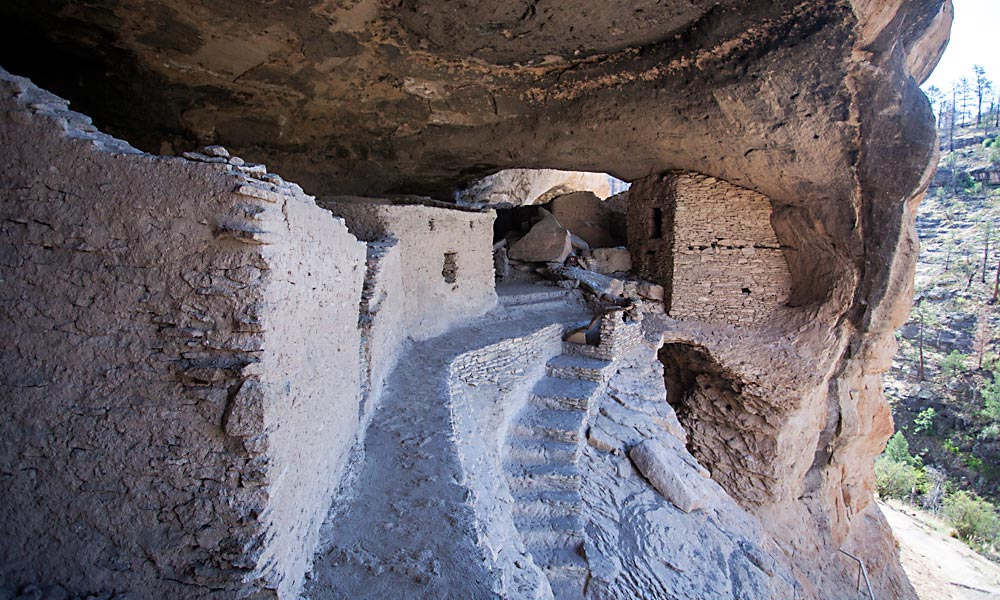 Since 1907, the Gila Cliff Dwellings National Monument has protected the ancient Mogollon culture's pueblo community built in the natural caves in the Mogollon Mountains in approximately 1270. – Courtesy New Mexico Department of Tourism –