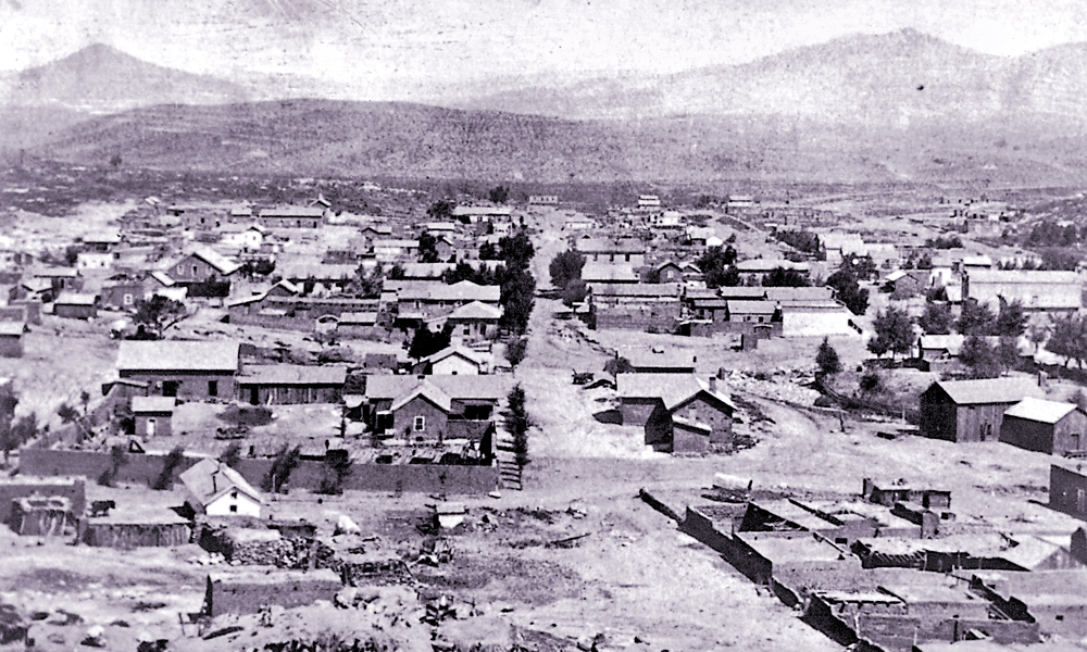 While the Spanish Santa Rita Copper Mines opened operations in 1805, the American silver strike of 1870 inspired the name and the mining rush that built the town and brought the miners and settlers into direct conflict with the local Apache tribes led by Victorio, Mangas Coloradas, Geronimo and Cochise. – Courtesy John Harlan Collection, Silver City Museum –