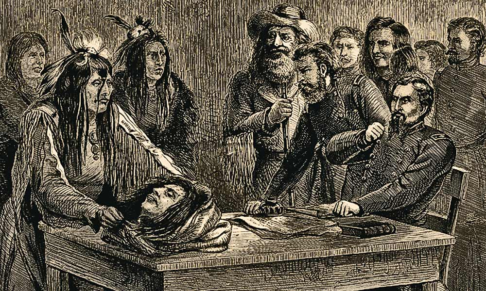 A rather bizarre illustration appeared in the April 30, 1870, edition of Harper's Weekly Magazine. It was an engraving showing a Piegan brave bringing the head of Pete Owl Child to Gen. Régis de Trobriand on a platter. This was likely in reference to the deal that Gen. Alfred Sully hoped he had struck with Heavy Runner and the other chiefs who met with him on January 2. – Published in Harper's Weekly, April 30, 1870 –