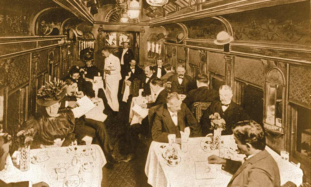 """This 1899 photo of a dining car on the new """"Chicago Great Western Limited"""" presents a view of the luxury dining some frontier railroad passengers enjoyed. – Courtesy Library of Congress –"""