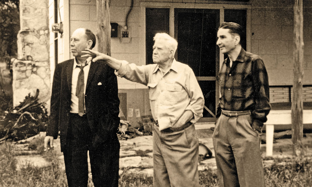 Three giants of Western folklore history and fiction (left to right) Fred Gipson, J. Frank Dobie and True West founder Joe Austen Small were at the forefront of popularizing Old West history in the 1950s. – True West Archives –