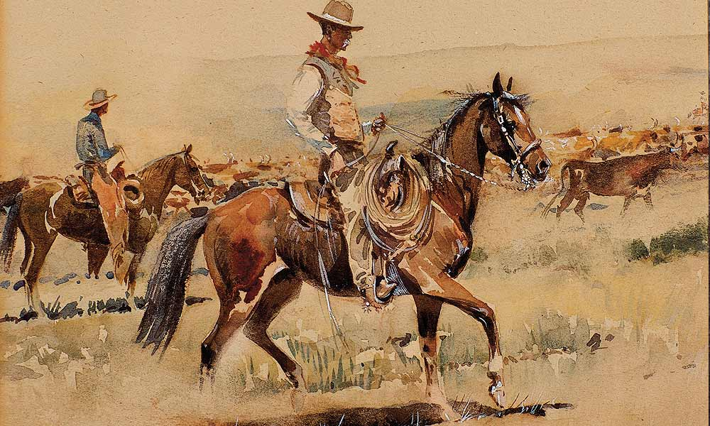 Collectors are paying attention to Edward Borein's watercolors. The smallest to sell so high at auction, his Trail Drive hammered in at Brian Lebel's High Noon for $45,000.