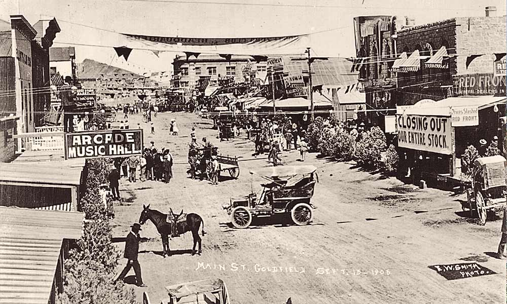 Virgil Earp and his wife, Allie, were living and working in Goldfield, Nevada, when Wyatt and Josie left Tonapah to join them in the fast-growing boomtown to pursue their favorite pursuits: mining and gambling. – Nevada Historical Society, ca 1906 –