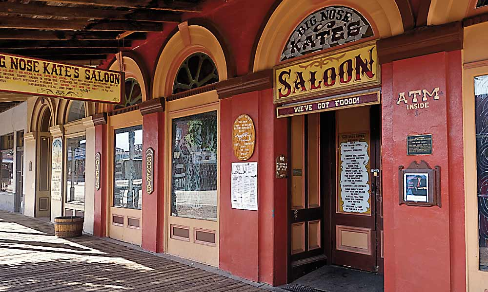 Within four years of Ed Schieffelin's silver strike in 1877, Tombstone was witness to the famed Earp-Cowboy feud. Today, visitors can drink and dine in Big Nose Kate's Saloon and imagine what life was like during the deadly days of the town too tough to die. – Courtesy Cochise County –