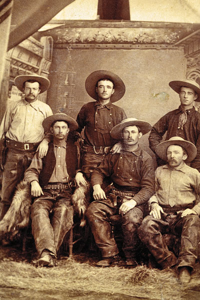 """Published in True West's """"Best Cowboy Photos"""" collectible issue this January, this photo shows John Slaughter's cowboys with foreman Jim Pursley standing at left. – Courtesy Robert G. McCubbin collection –"""