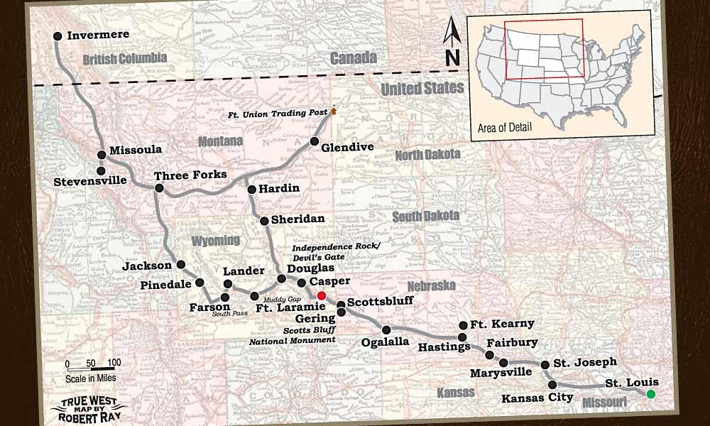 Map of Father Pierre De Smets trail across the region