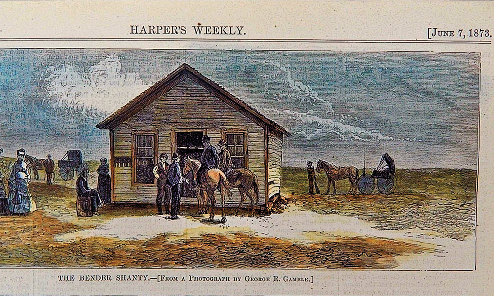 Color Lithograph of the Bender home in the June 7, 1873 edition of Harper's Weekly