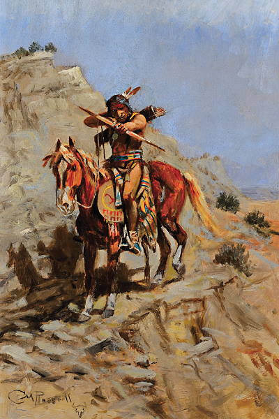Charles M. Russell's Painting of Indian with Bow.