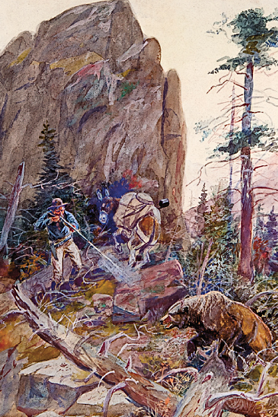 "Charles M. Russell painting, ""Grizzly at Close Quarters"""