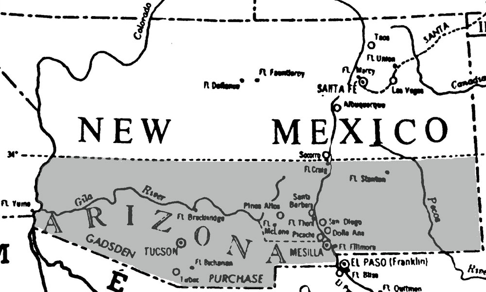 Arizonas Quirky Diagonal Border True West Magazine - Us map after the gadsen purchase