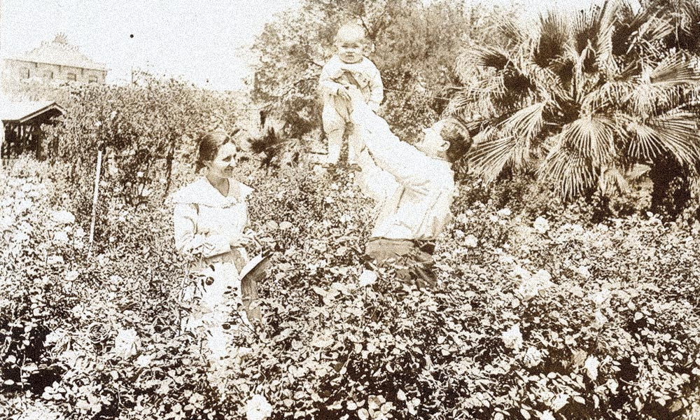 Pioneer Eugene Frances Sanguinetti holding daughter Rosemarie with wife Lilah