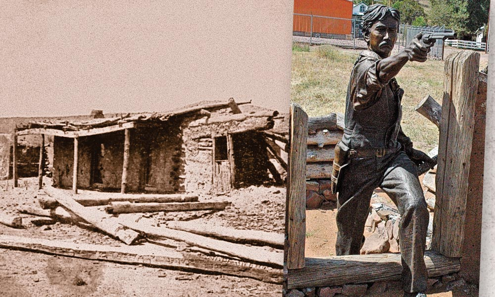 The legend of the brave young deputy sheriff from Socorro is preserved in Reserve, New Mexico's life-sized monument titled Elfego Baca—One Man, One War (inset). James Muir's allegorical sculpture dramatically recreates the 19-year-old lawman's courageous standoff of 80 Texas cowboys in a local adobe-wood jacal (above). – Courtesy New Mexico Tourism Dept./True West Archives –