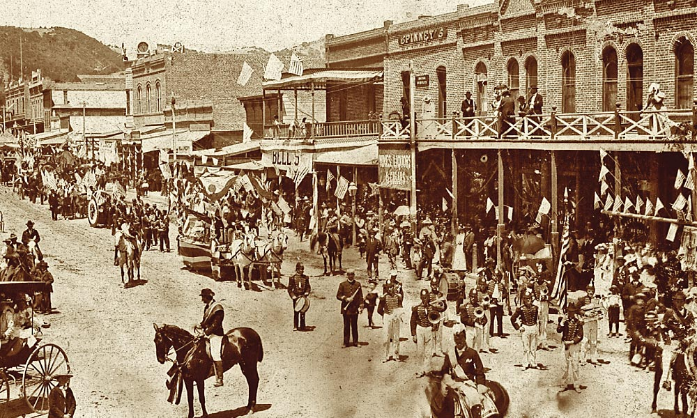 California miners came to the Paso Robles area to mine mercury, not gold, when the Sunderland Mine (later known as the Klau) opened in 1868. The town's Fourth of July celebration shown here gives you an idea of how prospectors commemorated Independence Day.
