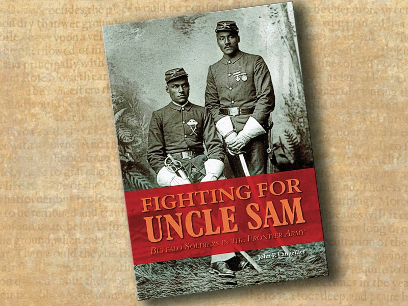 Fighting for Uncle Sam: Buffalo Soldiers in the Frontier Army is John Langellier's magnus opus in words and photographs on the U.S. Army's 19th-century black soldiers, including Civil War soldier, Sgt. Tom Sharp, Company B, 3rd U.S. Colored Troops Heavy Artillery Regiment.  – Courtesy Library of Congress, circa 1863-1865 –