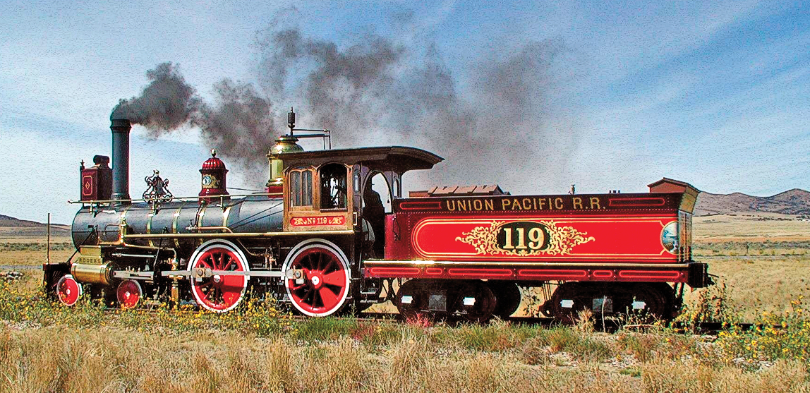 The National Park Service's replica of the Union Pacific's famous locomotive No. 119 joins the Jupiter replica twice a day every Saturday and holidays between May 1 and Labor Day for a re-enactment of the original ceremony at the Golden Spike National Historic Site in Promontory, Utah. – NPS.gov –