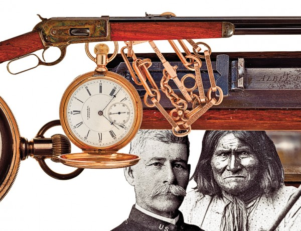 This August, 130 years ago, Capt. Henry  W. Lawton (at left), ably assisted by troops and  ambassador Lt. Charles Gatewood, convinced Apache leader Geronimo (at right) to end his reign of terror. Lawton's prize for capturing Geronimo broke the world record for a single firearm sold at auction. The Model 1886 Winchester was accompanied by a presentation pocket watch.  – Courtesy Rock Island Auction Company –