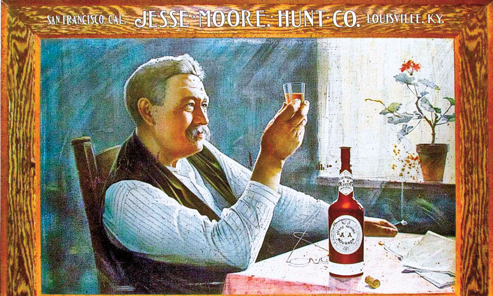 One of the South's largest whiskey houses made its way out west in 1876. Henry Browne Hunt worked the office in San Francisco, California, while Jesse Moore oversaw the distillery in Louisville, Kentucky. Their AA brand, advertised above, was the company's highest quality whiskey. – True West Archives –