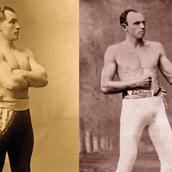 Wyatt Earp's friendship with Thomas Sharkey (left) suggests he may have indeed called a foul on Robert Fitzsimmons (right) to give the win to Sharkey. – True West Archives –