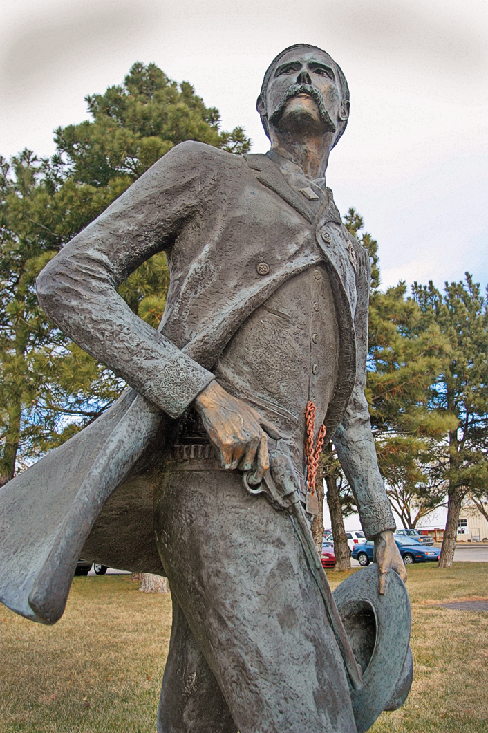 The larger-than-life statue of Wyatt Earp is a popular stop on Dodge City's Trail of Fame, at Central Avenue and Wyatt Earp Boulevard, which includes 31 historic medallions along the self-guided tour. – Max McCoy –