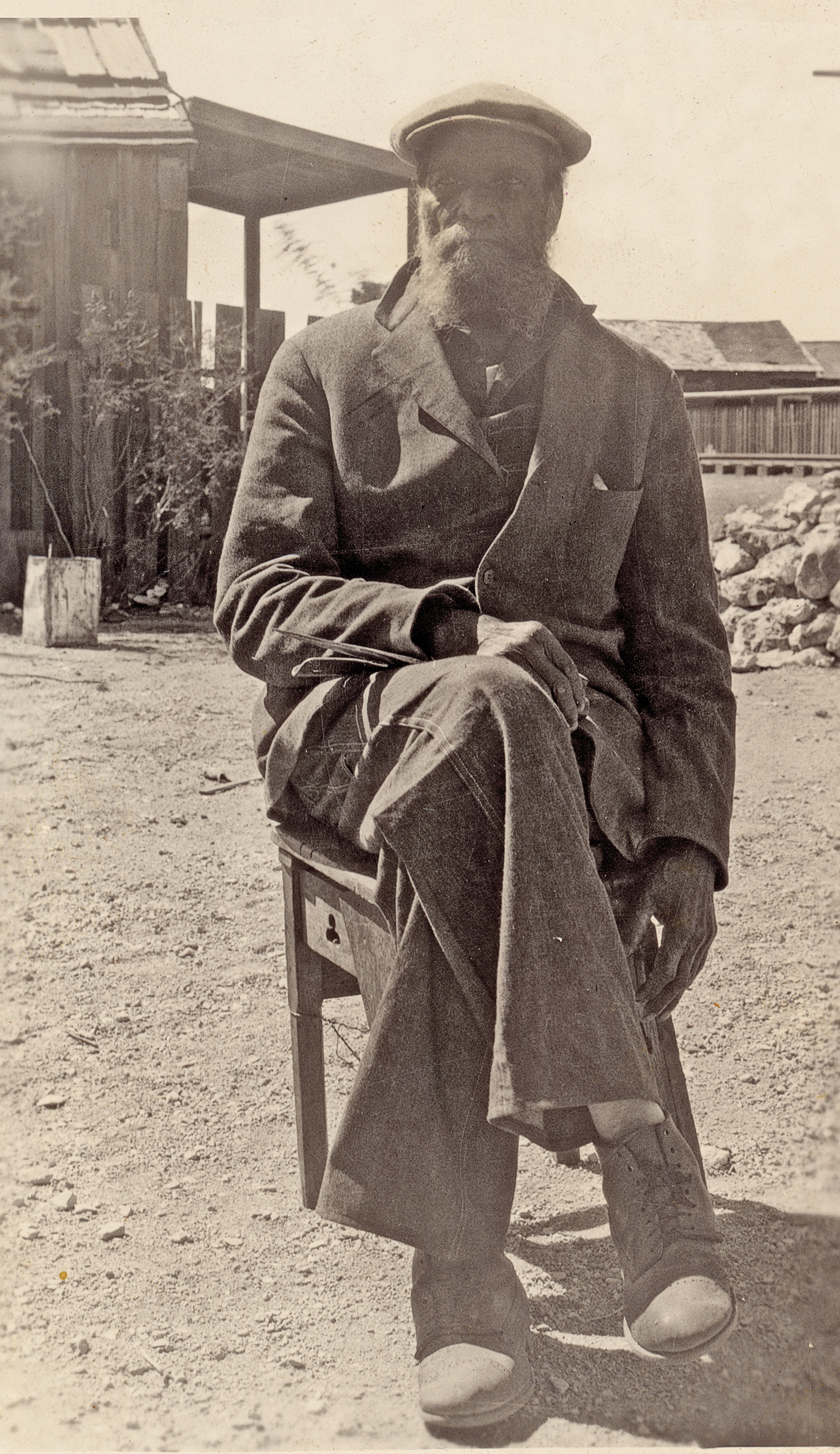 Judging from this candid snapshot taken of Jim Young in Tombstone, Arizona, in July 1927, the 94 year old remained an imposing figure. – Courtesy Arizona State Archives –