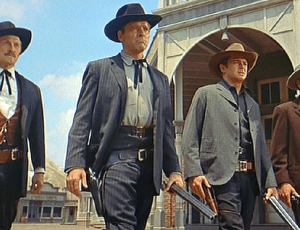Deforest Kelley portraying Morgan Earp (far right) in 1957's Gunfight at the O.K. Corral
