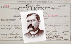Earp signatures are rare, which explains why this city license was the auction's top-selling lot that had ties to the famous Tombstone gunfight. Virgil Earp (right) signed the back of the brothel license for Madam Emma Parker, issued about a month before the O.K. Corral gunfight, on September 14, 1881, and denied for lack of payment six days later; $9,500. - Courtesy Heritage Auctions -