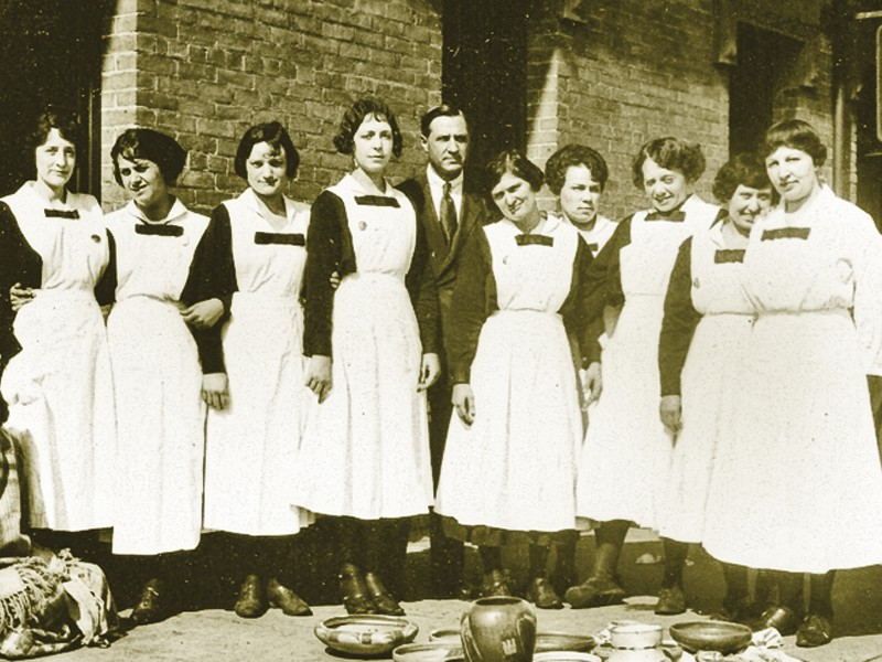 Fred Harvey started the most famous eating establishments out West, including  one at Union Station in St. Louis, Missouri. His waitresses, known as Harvey Girls, were a pleasing sight to behold (such as these Arizona gals), especially when so many pioneer men lived among so few women. – Top Courtesy St. Louis Union Station Archives; Above Courtesy Winslow Historical Society's Old Trails Museum –