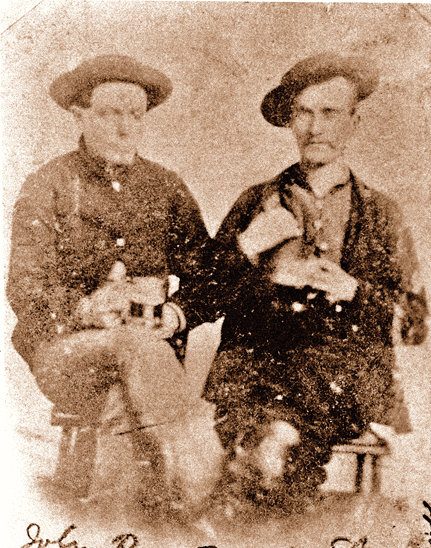 After the Reno Gang's first train robbery, the gang pulled off at least three more. The last one, in May 1868, netted them a $97,000 haul. Frank Reno (bottom) and his brother John, shown with gang member Frank Sparks (top, from left), heralded in an age of outlaw bands of brothers. – Courtesy Mark Boardman Collection –
