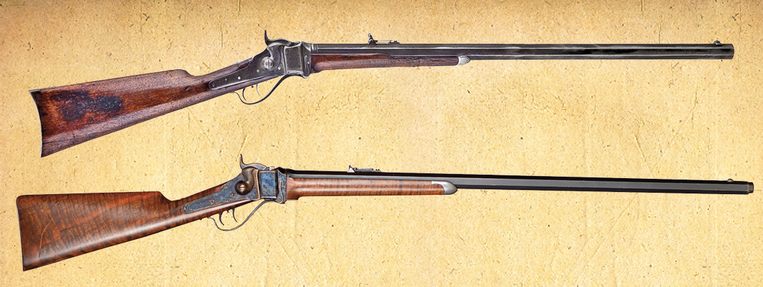 Buffalo hunter Billy Dixon made his famous 9/10ths of a mile shot using an 1874 Sharps rifle in .50-90 caliber, much like this (top) 1872-manufactured, Hartford-made Sharps .44-77 Sporting Model. Later interviews with American Indian survivors of the Adobe Walls fight revealed that although Dixon's shot did not kill the Indian, he was badly wounded, demoralizing the warriors so that they retreated. The author used this (above) .50-90 Shiloh Sharps rifle successfully on many hunts and experimented on his own, making shots at distances similar to Dixon's. – Courtesy Phil Spangenberger Collection –