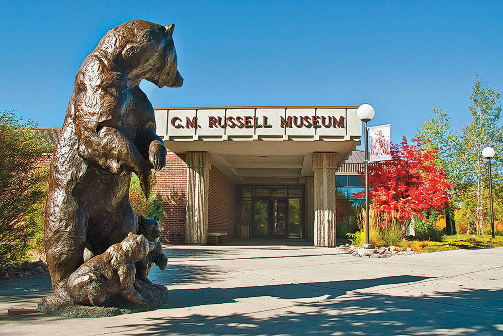 The Russell Riders Sculpture Garden at C.M. Russell Museum in Charles M. Russell's adopted hometown of Great Falls, Montana, welcomes visitors to the internationally acclaimed gallery, and includes Joe Halko's life-sized bronze of grizzly bears, Nose to the Wind. – Courtesy C. M. Russell Museum –