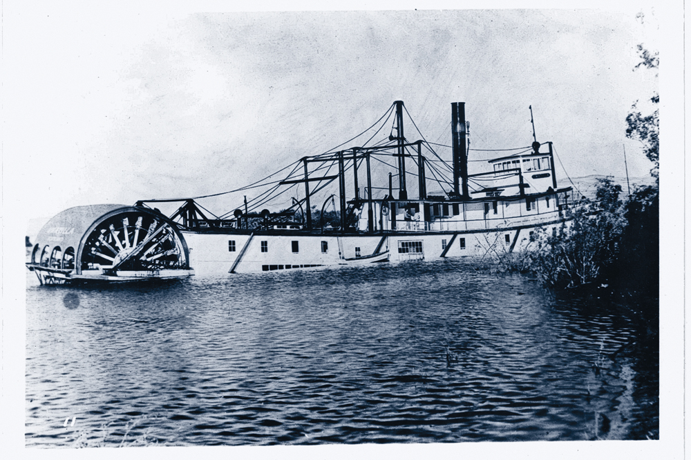 A steamboat disaster turned into a boon for John C. Ainsworth when he invested in the Umatilla (right), which entered the record books when the steamer dared to go where no other had gone before. On July 21, 1858, she made the trip from Fort Hope to Fort Yale in five hours, one of which was spent aground, reaching the highest point. – Courtesy Oregon Historical Society –