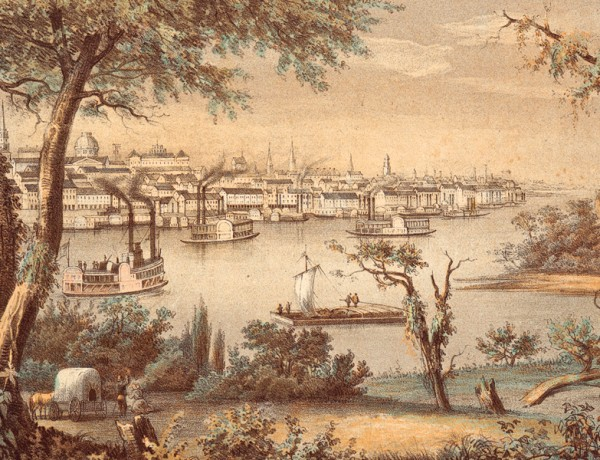 When John Jacob Astor financed the Wilson Price Hunt Party to help establish an American fur company in the Northwest in 1811, the 56-person company outfitted themselves in St. Louis, Missouri, the capital of Louisiana Territory. The growth of the U.S. fur trade would help fund the Gateway City's expansion to become the West's first great city.  – Courtesy New York Public Library, artist, Henry Lewis ca. 1854 –