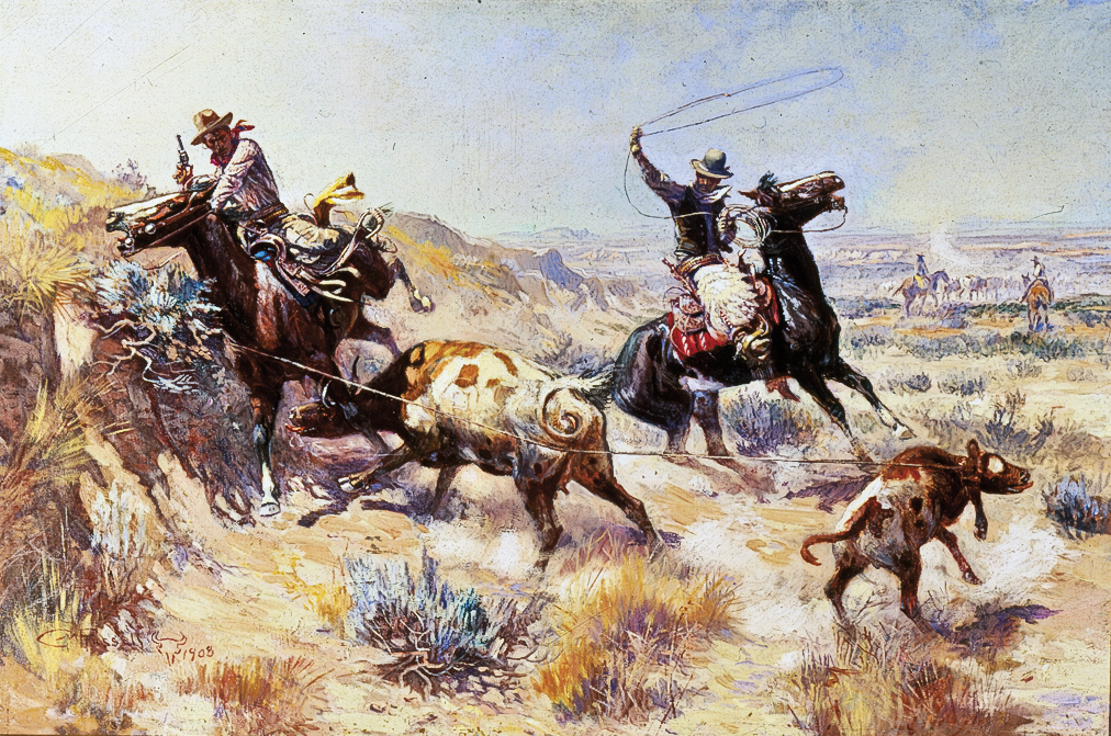 Charles M. Russell Charles M. Russell's 1908 oil on canvas masterpiece, Range Mother (A Serious Predicament), reveals his personal knowledge of working cattle in Montana, a theme that has influenced and inspired generations of cowboy artists for over a century. – Courtesy Joslyn Art Museum, Omaha, Nebraska, Gift of Foxley & Co., 2000.27 –