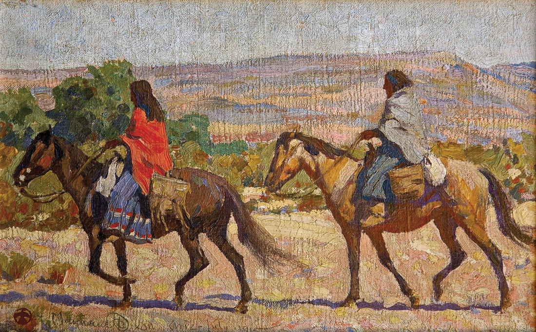 Maynard Dixon In 1891, 16-year-old Maynard Dixon corresponded with Frederic Remington. The acclaimed Western artist encouraged the young Californian to pursue a career as an artist. Dixon, who, like his mentor, traveled the West in search of subjects and inspiration, painted the oil on canvas Apache Woman in Rice, Arizona, in July 1915. – Courtesy Mark Sublette Medicine Man Gallery and Maynard Dixon Museum, Tucson, Arizona –